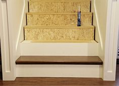 DIY wood stairs - apparently people don't buy these they cost a fortune to the tune of $150/step ( I got quotes). This post will be very handy!!! -J