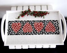 Heart Mosaic Serving TrayMosaic tray with BlackRed White by byGuls