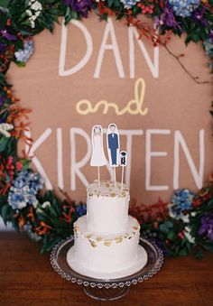cutest cake toppers ever!!!! love the sign behind it too!!! can be used in photos but also as decoration too!