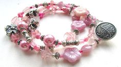 Rose Pink and Silvertone Triple Wrap Beaded Bracelet with Button Fastening