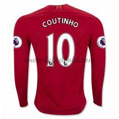 Billige Fodboldtrøjer Liverpool 2016-17 Coutinho 10 Langærmet Hjemmebanetrøje