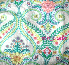 NEW CYNTHIA ROWLEY 3pc Tropical green Floral garden FULL/QUEEN QUILT SHAMS SET #CynthiaRowley