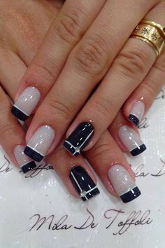 Black french manicure with a twist.