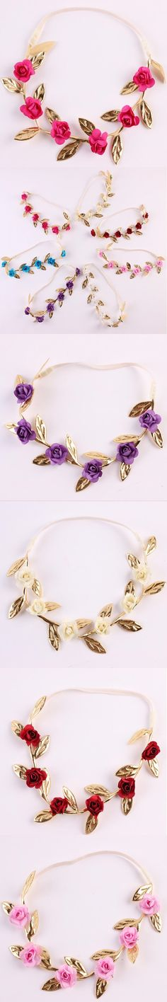 Vintage baby headband ,Gold Leaf and hot pink Rose Flower Garland ,Newborn Headband ,Baby Girls Headwarps ,Toddler flower crown $12.5