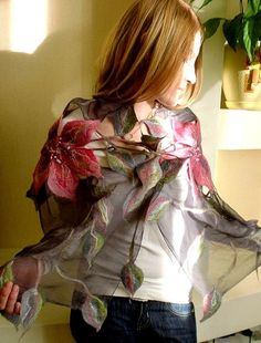 Nuno felted scarf FLOWERS by FfeltT on Etsy, $100.00