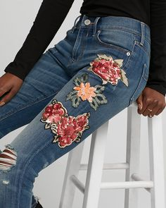"Frayed hems and sequin embroidered patches combine to take your tee-and-jeans look to the next level. Jean leggings are a great companion for a comfy crew neck tee or sweater. Designed to fit and flatter your 5'4"" and under frame."