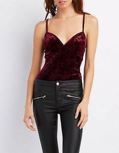 Velvet V-Neck Bodysuit