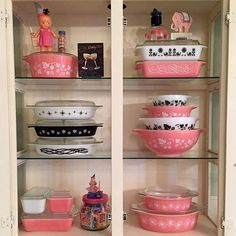 My May birthday inspired pink and black Pyrex display! Thanks for the little cutie!