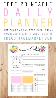 Free Printable Daily Planner /// One Page For All Your Daily Needs!  This one single page will have your organized and happy in a snap!  #FreePrintablePlanner #FreePlannerPrintable #FreePersonalPlanner #FreePrintable #FreePrintablePersonalPlanner #PersonalPlannerPrintable #FreePrintable #PrintablePlanner #ORganizing  #Organization