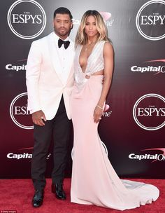 Newlyweds: Ciara and Russell Wilson looked stunning on the red carpet of the 2016 ESPY Awa...