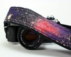 Galaxy Camera Strap, No. 28, Hand painted, dSLR or SLR, Cosmos, Nebula, OOAK. $38.00, via Etsy.