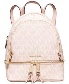 It's too fucking beautiful ughh // MICHAEL Michael Kors Rhea Extra Small Backpack. I want the blue Sky Signature/ Silver .. Macy's
