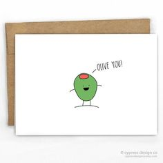 """Love / Friendship / Valentines Day Card For that person that loves olives! Yum!  - Blank Inside - A2 size (4.25"""" x 5.5"""") - 100% Recycled HeavyCard Stock with"""