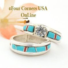 Size 6 Turquoise Red Coral Engagement Bridal Wedding Ring Set Native American Wilbert Muskett Jr WS-1593 Four Corners USA OnLine Navajo Silver Jewelry