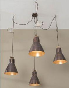 Luminaire suspension industriel 5 lampes noir design GOKU