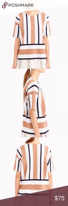J Crew Stripe Short Sleeve Sweater Double-faced wool for a bit of extra heft and designed with short sleeves—so it's a cozier alternative to a T-shirt (and looks great layered over a button-down).  Merino wool. Dry clean. Loose fit + hits at the hips. J. Crew Sweaters