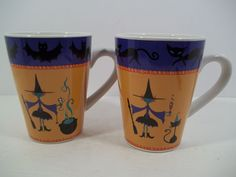 "PAIR ""Try Some Broo"" Halloween Mugs Designed by Mary Kober  - WITCHES/BATS/CATS #WendoverLane"