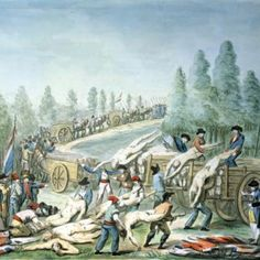 Transporting Corpses during the Revolution c.1790 Art Print by Etienne Bericourt.  These victims probably died during a riot.  Since their heads are still attached, we know they didn't die by the National Razor (guillotine). ~ LMB