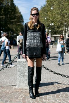 Milan Fashion Week Spring 2014 Attendees Pictures - StyleBistro OTK boots