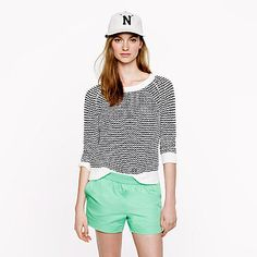 These J.Crew green cotton shorts feature a sporty vibe but still feel girlie. @J.Crew #style