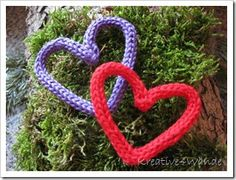 Lovely French knitting hearts