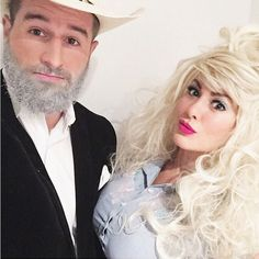 Just another casual day dressed as Dolly Parton and Kenny Rogers … no big deal …