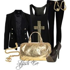 Golden and black dress style for ladies Jacket New Fashion Trends, I Love Fashion, Winter Fashion, Womens Fashion, Fashion Idol, Gold Fashion, Stylish Eve Outfits, Cute Outfits, Fall Winter Outfits