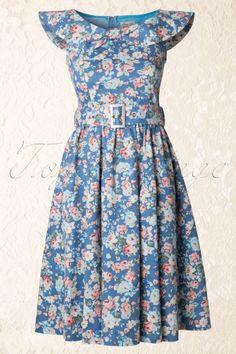 Lindy Bop - 1950s Hetty Swing Dress in Floral Sky Blue