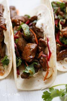Korean Buglogi Bbq Beef Tacos with Kale Slaw | http://cafedelites.com