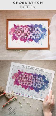 Watercolor cross stitch pattern | Ethnic cross stitch | Slavic embroidery | Folk cross stitch | Russian embroidery | Pagan amulet | Mari Bori