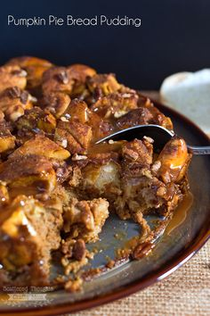 Decadent Pumpkin Pie Bread Pudding with Caramel Sauce