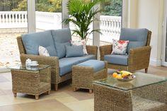 Kentdale Large Sofa, Chair & Footstool Ottoman, Banana Leaf, Sky