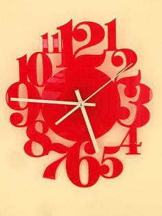Acrylic wall clock laser cut clock handmade clock vinyl