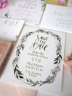 green floral border save the date | a fabulous fete