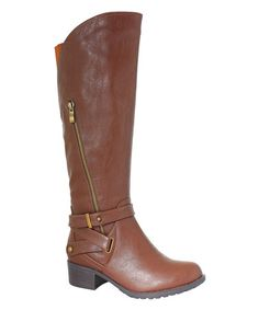 Take a look at this Cognac California Extra Wide-Calf Boot on zulily today!