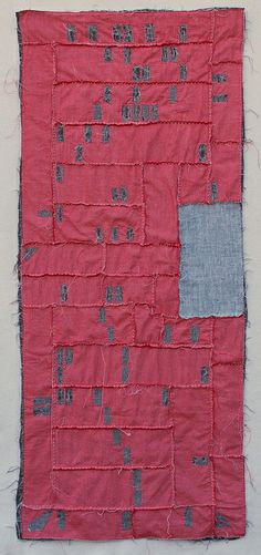 "Phoenix Foreclosure Quilt, 2012 by Kathryn Clark. 22"" x 52"" Shot cotton, cheesecloth, linen, yarn and embroidery thread."