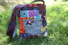 Upcycled colorful fabric tote bag by HappyQuiltDesigns on Etsy, $40.00