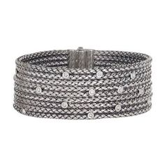 Alisa Designer handmade Sterling Silver Basketweave Bangle with Diamonds  #vhb632