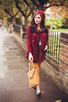 Adorable. The mustard and cranberry go so together so fall-looking! The pea jacket is so english looking.