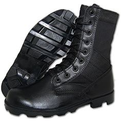 Awesome COMBAT Jungle Boot Leather-Canvas Black, Men