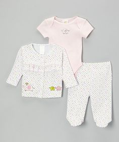 Take a look at this White Polka Dot Elephant Cardigan Set - Infant by Absorba on #zulily today!