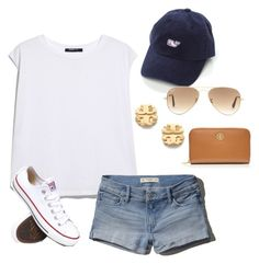 """""""#samssummerlovin"""" by keileeen ❤ liked on Polyvore featuring MANGO, Abercrombie & Fitch, Ray-Ban, Tory Burch, Converse, women's clothing, women's fashion, women, female and woman"""