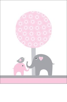 Pink and gray nursery wall art elephant kids wall by walstonprints, $12.00