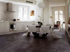 Tour entire room scenes without attending a showroom, thanks to Florida Tile residential and commercial tile settings outlined in a high definition gallery. Appartement New York, Photo Deco, Living Room Kitchen, White Cabinets, Kitchen Design, Tiles, Sweet Home, Dining Table, Design Inspiration