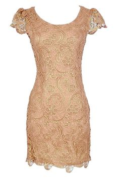 Nila Crochet Lace Capsleeve Pencil Dress in Pink Shimmer