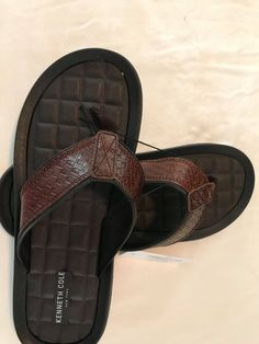 912ef4b50 NWOB Kenneth Cole New York Men s Leather Flip Flop Sandals- Brown  fashion   clothing