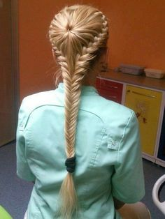 Braid from centre pony in French braid style