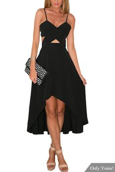 Black Plunge Wrap Front Cut Out High Low Hem Midi Dress from mobile - US$25.95 -YOINS
