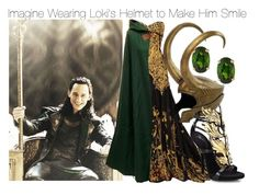 """Imagine Wearing Loki's Helmet to Make Him Smile"" by fandomimagineshere ❤ liked on Polyvore featuring Anika and August, Alexander McQueen and Giuseppe Zanotti"