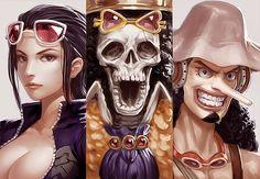 One Piece, Straw Hat Pirates | Robin, Brook, and Usopp.